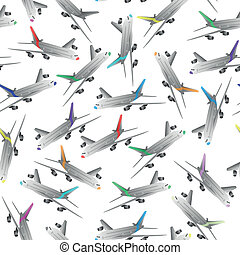 airliner - illustration of color airliner seamless pattern