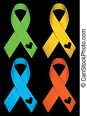 color ribbons - illustration of color ribbons isolated on...