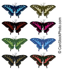 Illustration of colored butterflies