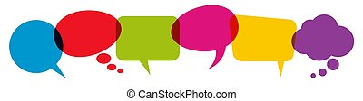 colored speech bubbles in a row - illustration of colored ...