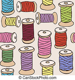 Illustration of colored threads seamless pattern - Sewing...