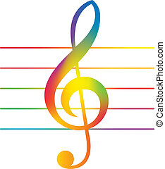 Treble Clef - Illustration of Colored Treble Clef Over Staff...