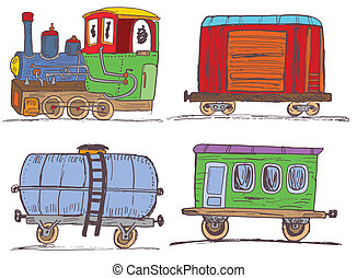 vintage train with wagons - Illustration of colored vintage...