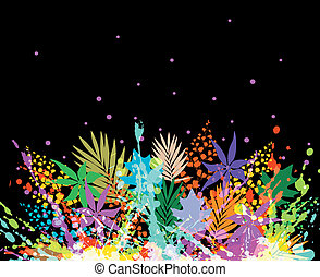 illustration of colorful background with different leaves