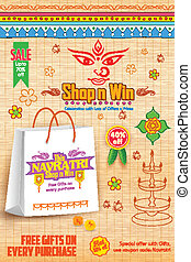 Happy Navratri Offer promotions - illustration of colorful...