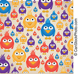 Illustration of colorful birds pattern, social networking and communication, vector illustration