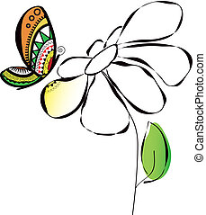 illustration of colorful butterfly on flower