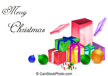 colorful christmas card with presents