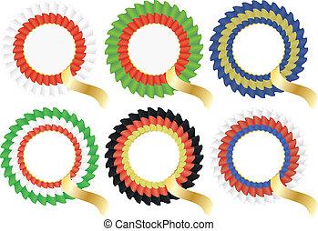 cockade rosette - illustration of colorful cockade rosette