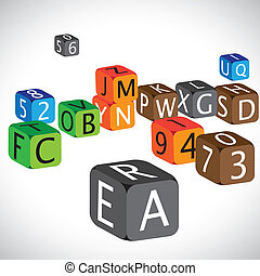 Illustration of colorful cubes of alphabets and numbers. The cubes are made of english language characters and numerals in capital case which are used to teach children