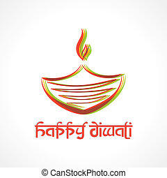 Illustration of colorful diya for  Diwali