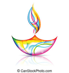 Happy Diwali Holiday - illustration of colorful diya for...