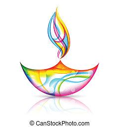 illustration of colorful diya for Happy Diwali Holiday