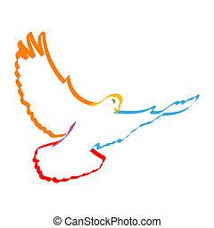 colorful dove - illustration of colorful dove symbolising...