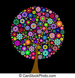 colorful flower tree on black background