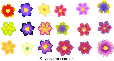 Illustration of colorful flowers isolated on a white background