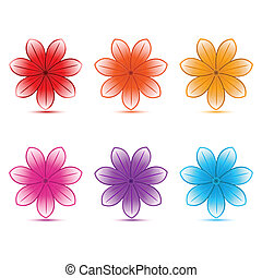 colorful flowers - illustration of colorful flowers on white...