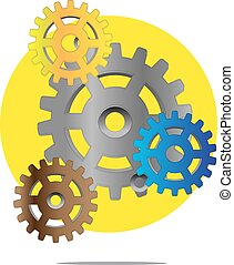 Illustration of colorful gears with yellow circle background
