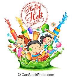 Happy Holi Background for Festival of Colors celebration...
