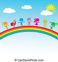 colorful happy kids standing on a rainbow