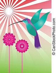 illustration of colorful hummingbird with violet flowers