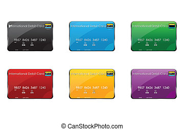 illustration of colorful international debit cards on white background
