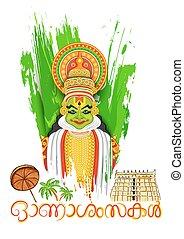Kathakali dancer face with message Happy Onam