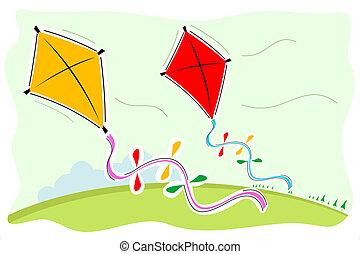 colorful kites - illustration of colorful kites