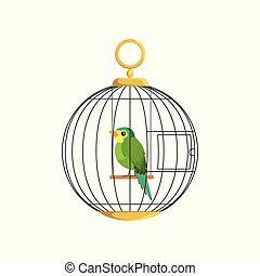 Illustration of colorful little bird in cage. Green singing...