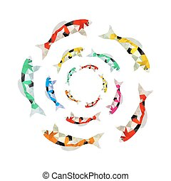 Illustration of colorful origami koi fish swimming in circle