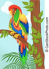 colorful parrot on tree branch