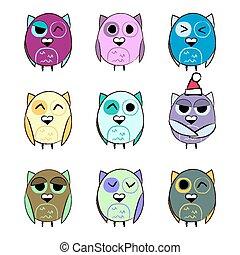 Colorful set Christmas owls