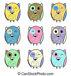 Colorful set with owls