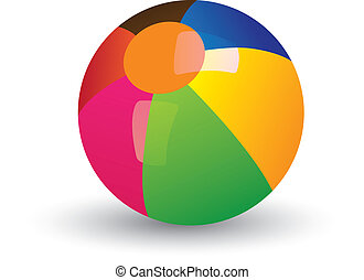 Illustration of colorful shining beach ball. The balls graphic has gradients of red, yellow, blue, green and other vivid colors and and is placed on white background