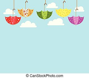 Illustration of colorful soaring umbrellas and white clouds on a blue background.