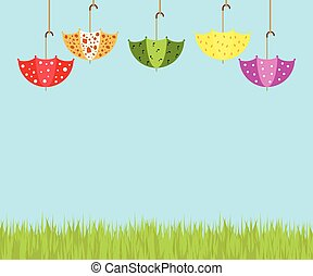 Illustration of colorful soaring umbrellas, white clouds, and grass on a blue background.