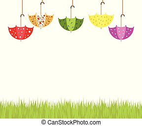 Illustration of colorful soaring umbrellas, white clouds, and grass on a white background.