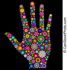Illustration of colorfull human palm on black background