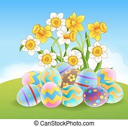 Illustration of colourful Easter eg