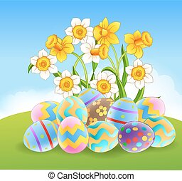 Illustration of colourful Easter eg