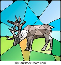 Illustration of colourful stained glass with deer on landscape