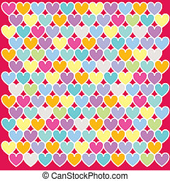 Mosaic background illustration pop colours. Illustration of a red heart pattern background
