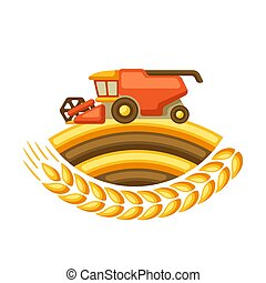 Illustration of combine harvester with ripe wheat ear. ...