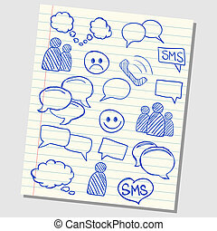 Illustration of communication and speech icons on school lined paper