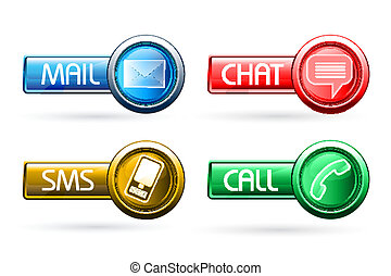 illustration of communication buttons on white background