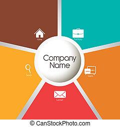 illustration of company's portfolio of services, web template, vector illustration