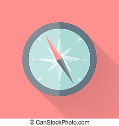 Compass flat icon pink and blue
