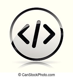 computer code icon on white background