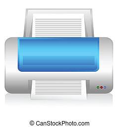 computer printer - illustration of computer printer on white...