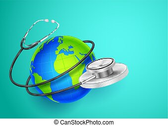 Medical background showing World Health Day with stethoscope around Earth